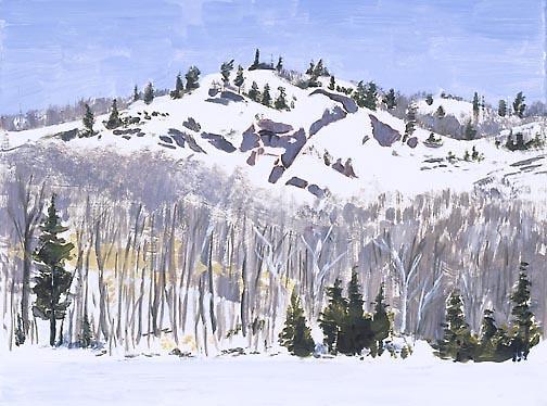 Lago helado al lado de la Montaña Ste. Marie