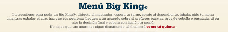 menu big king