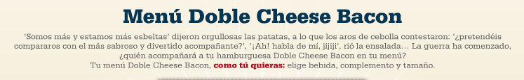 menu cheese doble bacon