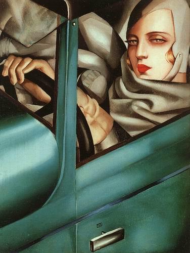 autorretrato-en-bugatti-verde-1925