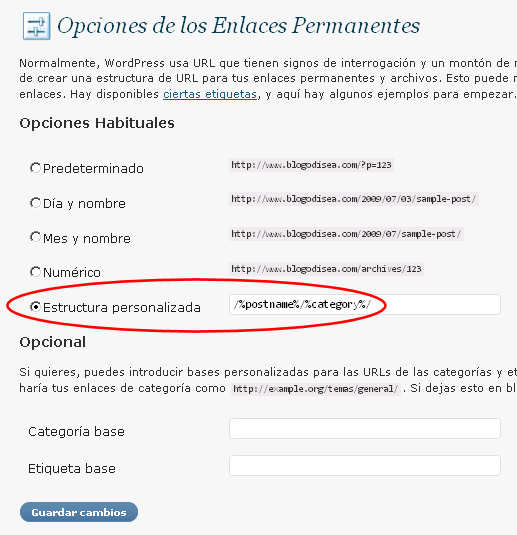 opciones enlaces permanentes wordpress