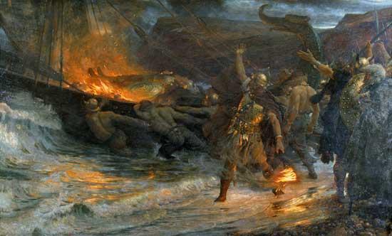 vikingos-Funeral vikingo Sir Frank Dicksee