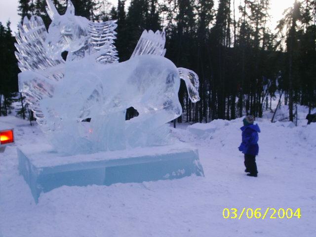hielo escultura caballo ice horse