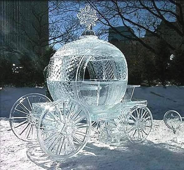 hielo escultura carroza