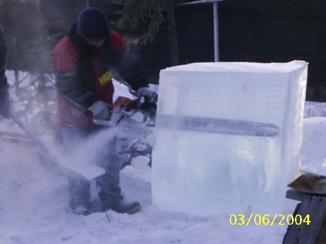 hielo escultura motosierra ice carving