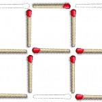 Juego de cerillas: Dejar 3 cuadrados