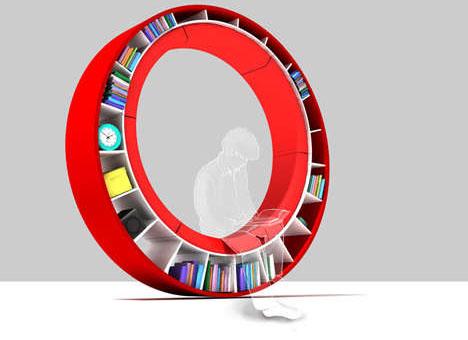 biblioteca circular rueda estanteria