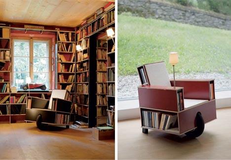 estanterias biblioteca ruedas sillon