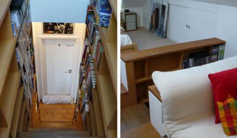 libreria escaleras estanterias