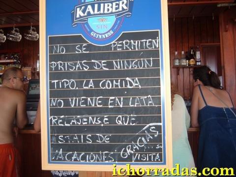 cartel prisas restaurante