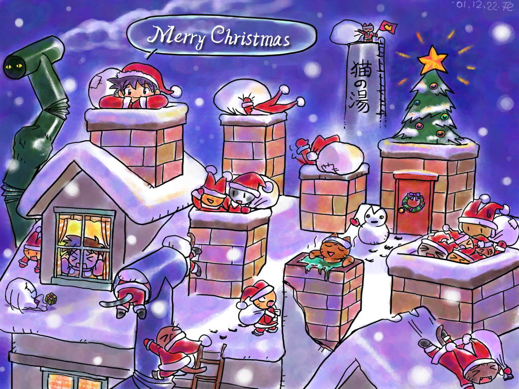 postales navidad casas nevadas