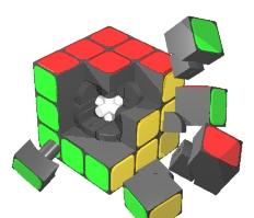 cubo rubik desmontado