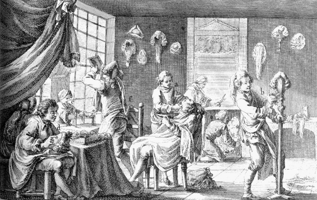 pelucas siglo XVIII francia barberia