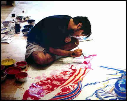 yoshitaka amano pintando pintura