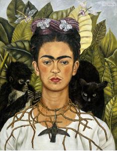 Frida Kahlo autoretrato collar espinas colibri