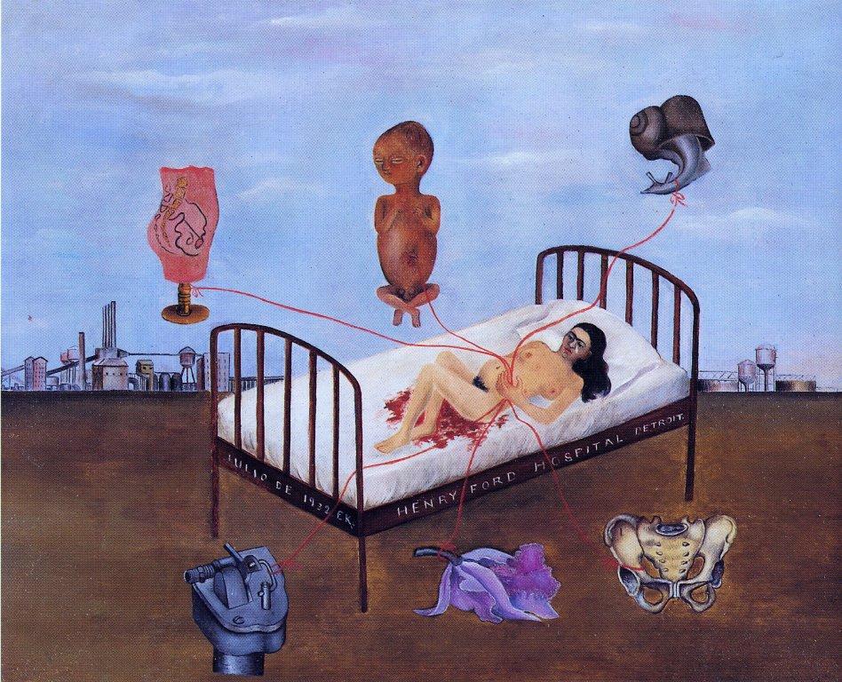 frida-kahlo-cuadro-Henry Ford Hospital cama volando 1932