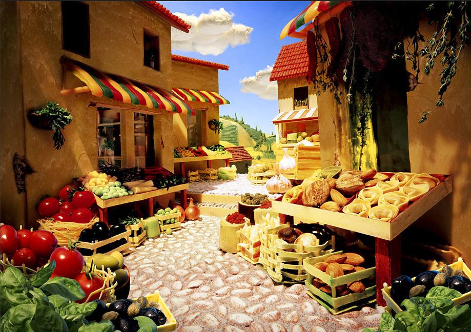 paisaje calles mercado queso macarrones