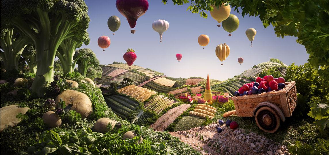 paisaje campo globos verduras