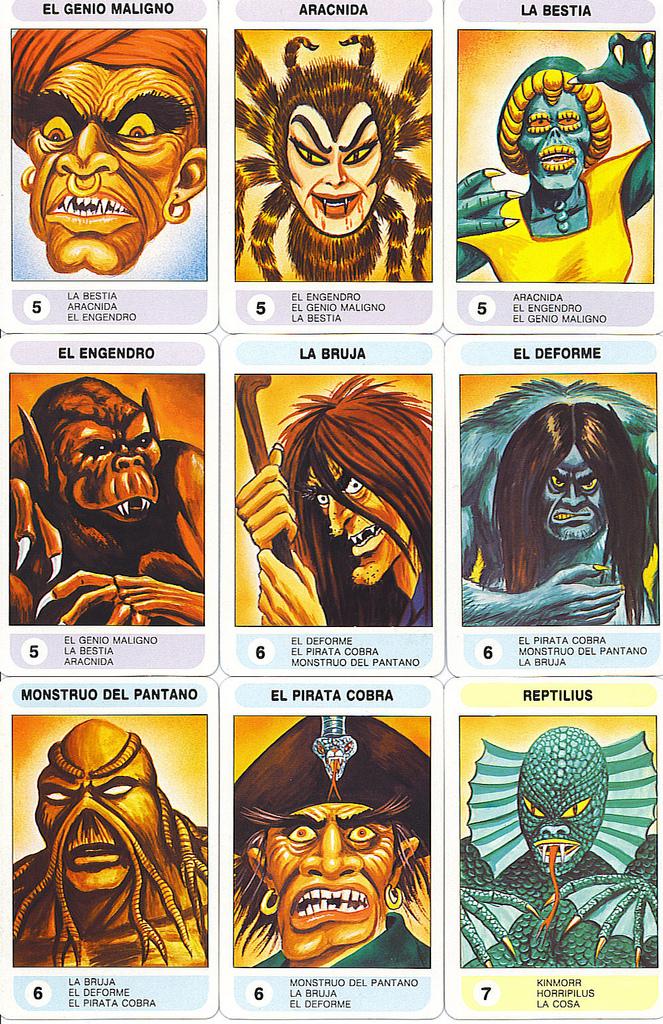 super monstruos cromos cartas juego