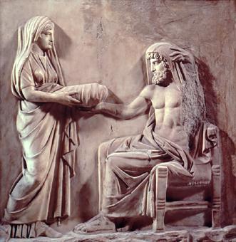 Cibeles entrega a Saturno una piedra envuelta en un paño para engañarle pensando que se trata de su hijo Júpiter