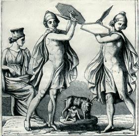 Grabado del baile de los Gallus de Cibeles