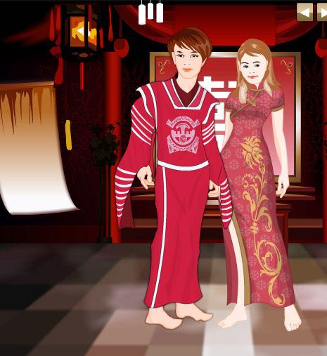 Juego para vestir a los novios chinos