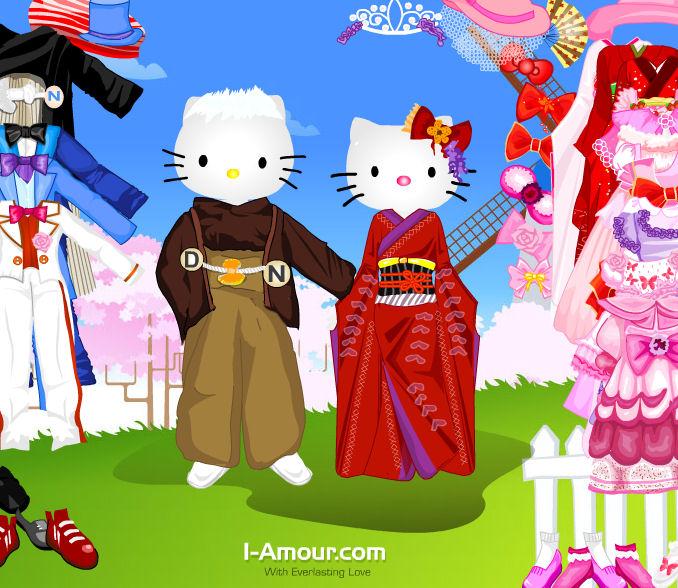 Juego para vestir a hello kitty y su novio juegos for Juegos de hello kitty jardin