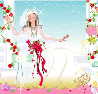 Juego para vestir a la novia de las flores