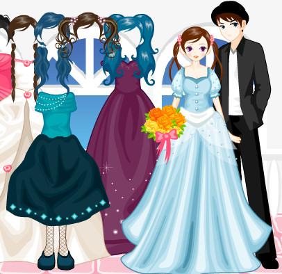 Juego de vestir a los novios para la fiesta de la boda