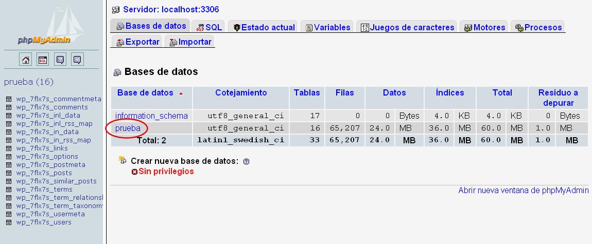 phpmyadmin copia base datos wordpress 1