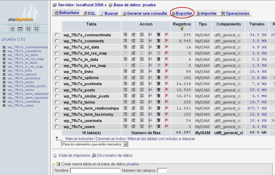 phpmyadmin copia base datos wordpress 2
