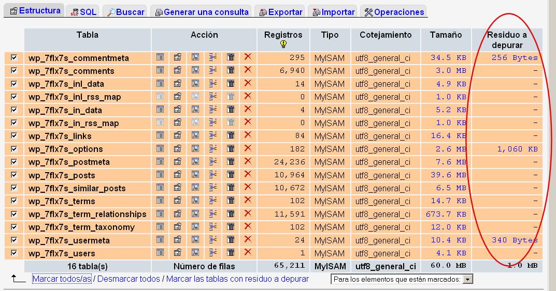 phpmyadmin optimizar reparar tabla 2