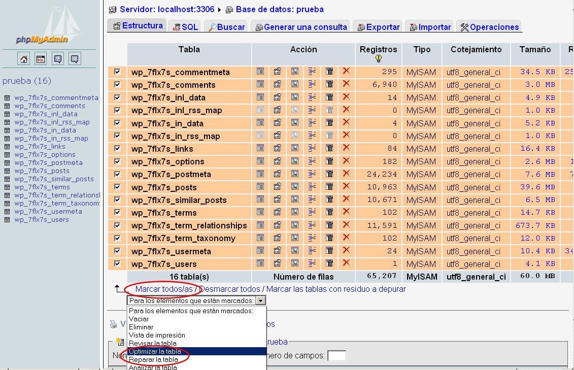 phpmyadmin optimizar reparar tabla