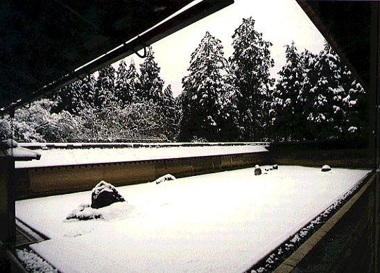 ryoanji jardin zen seco japones nieve invierno