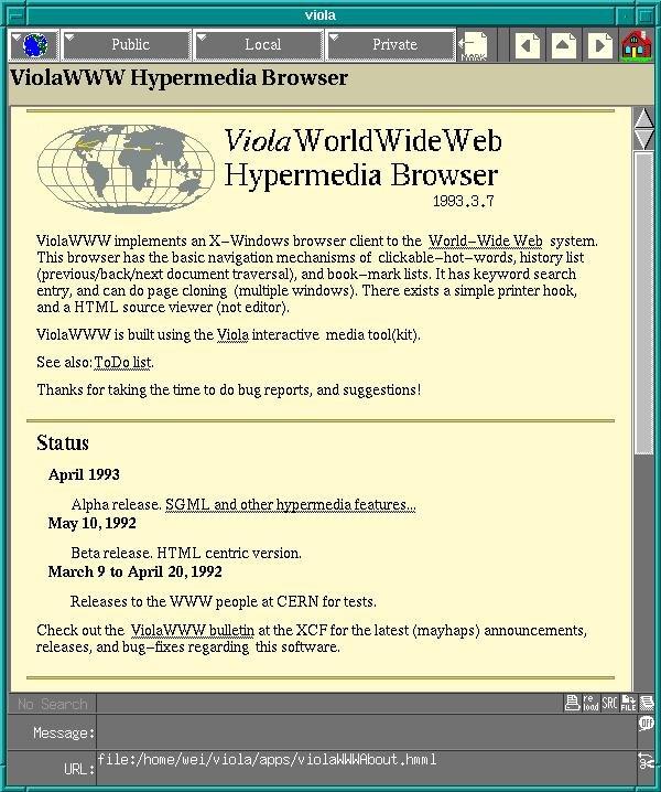 violaWWW navegador grafico internet