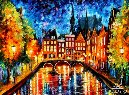 Leonid afremov amsterdam night