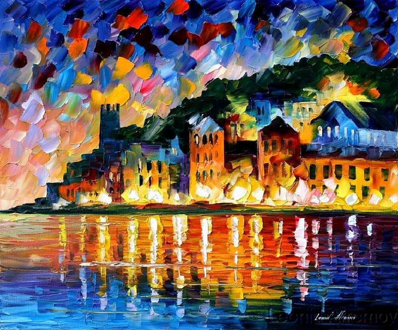 Leonid afremov greek harbor