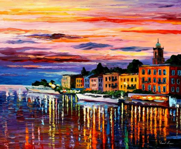 Leonid afremov lake-como-bellagio