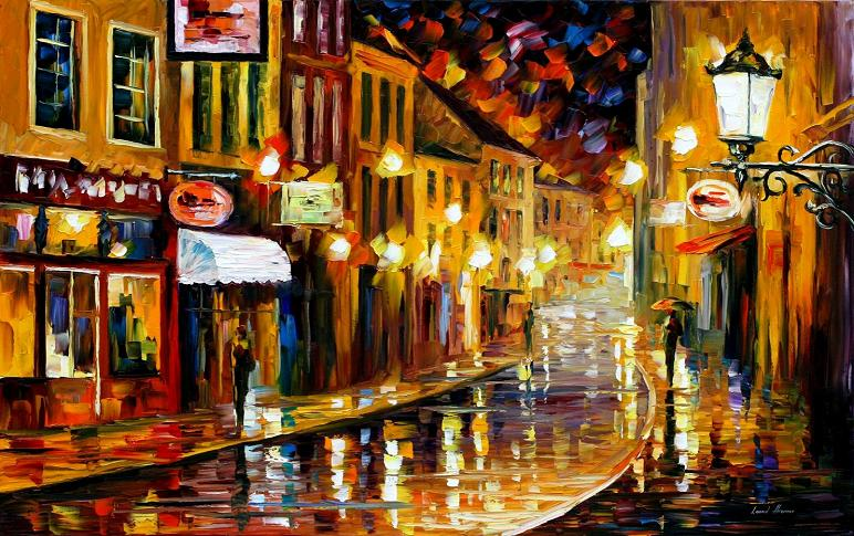 Leonid afremov lights of the old town