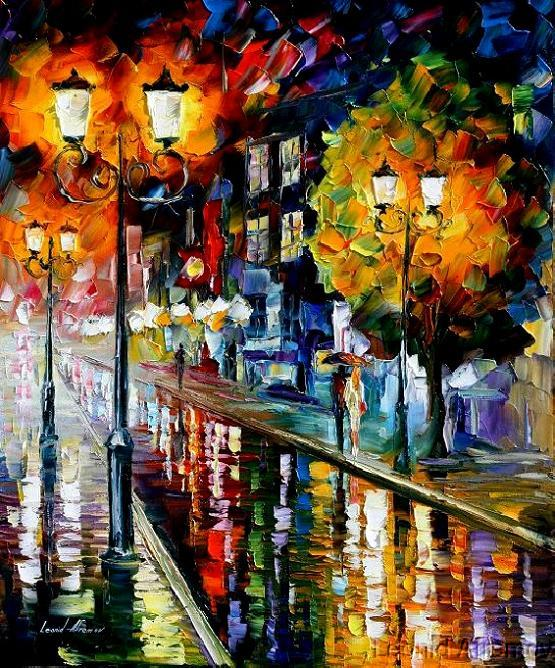 Leonid afremov rain in the city