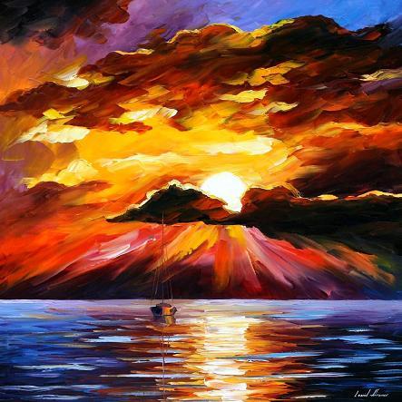 Leonid afremov sunny clouds