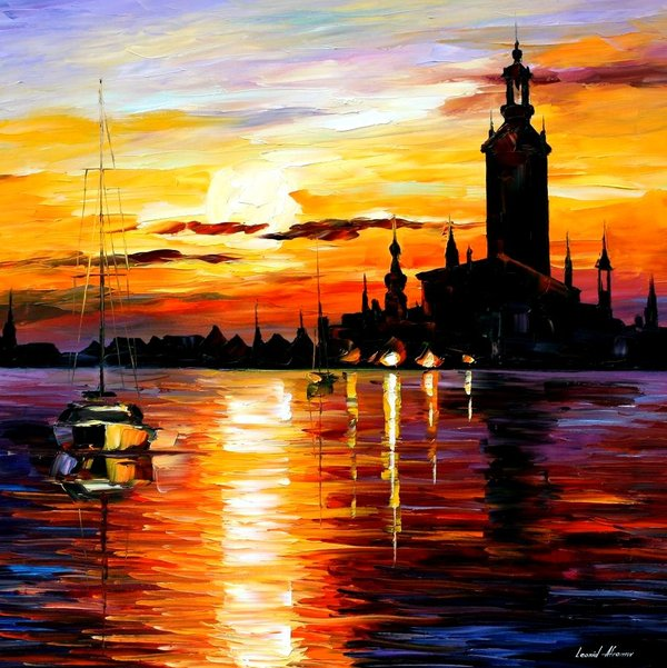 Leonid afremov town on horizon