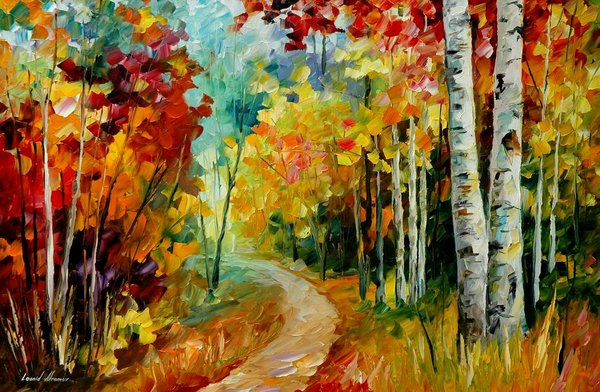 Leonid afremov white birches
