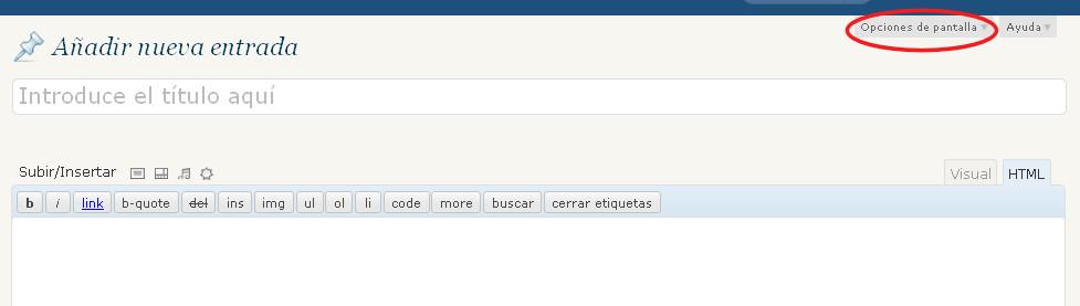 secciones panel control publicar desaparecidas wordpress 1
