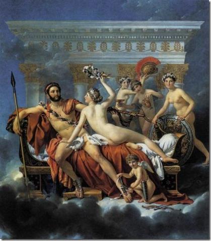 Marte desarmado Venus tres Gracias Jaques-Louis David 1824