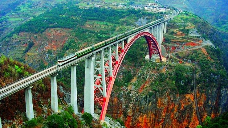 Liupanshui China  city images : Puente ferrocaril del rio Beipanjiang en Liupanshui, Guizhou, China