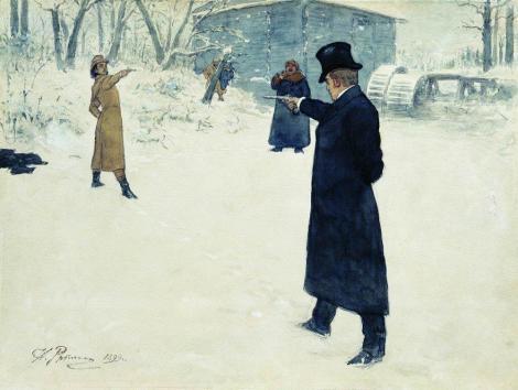 Duelo de Oneguin Lensky Ilustración de Ilia Repin 1899