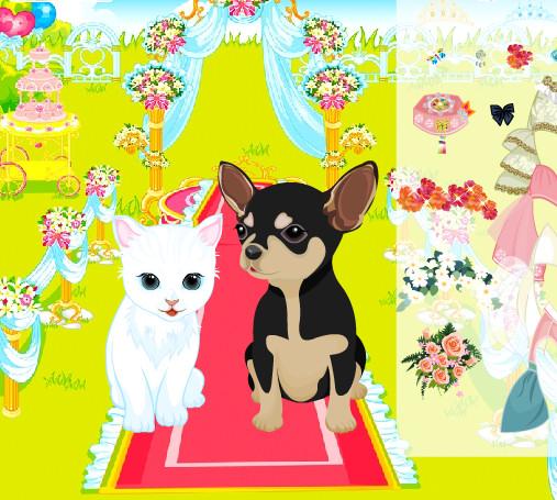 Juego de trajes y vestidos para la boda de la gata y el perro