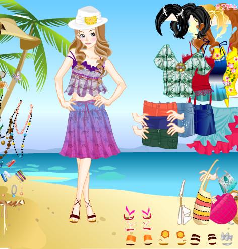 Juego de moda para vestir en la playa