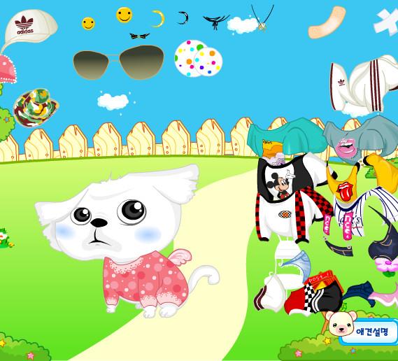Juego para vestir al perro blanco